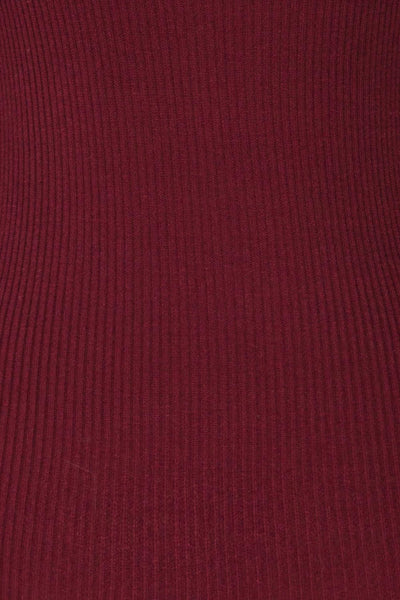 Dagsvik Burgundy Ribbed Turtleneck Top texture close up | La Petite Garçonne