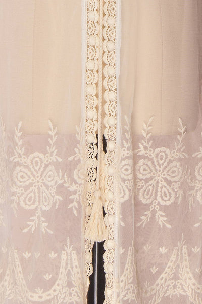 Daiva Day Cream Lace & Mesh Floral Maxi Kimono | Boutique 1861 8