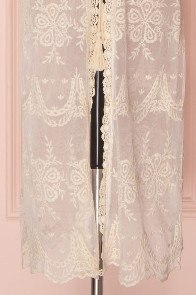 Daiva Day Cream Lace & Mesh Floral Maxi Kimono | Boutique 1861 7