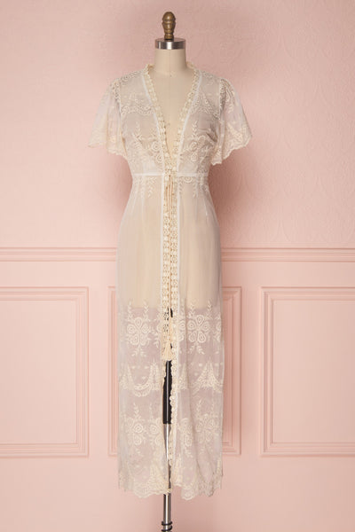 Daiva Day Cream Lace & Mesh Floral Maxi Kimono | Boutique 1861 1