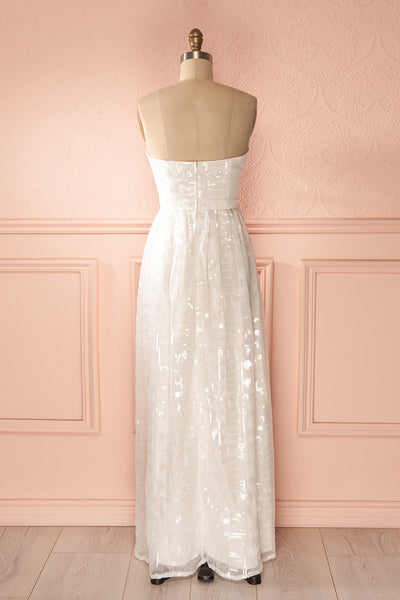 Dalla - White sequins patterned bustier gown