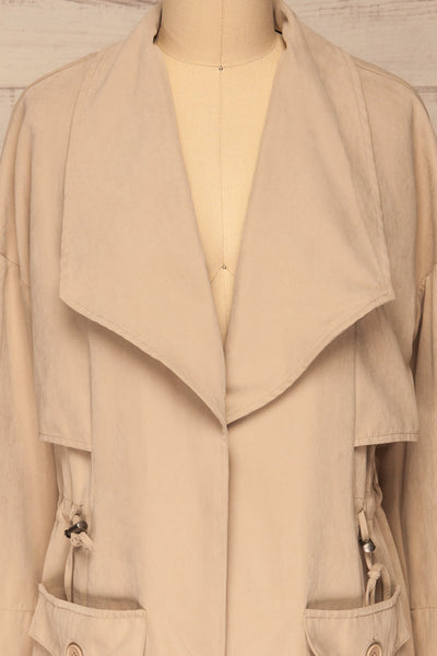 Damery Beige Grey Loose Jacket | La petite garçonne front close-up