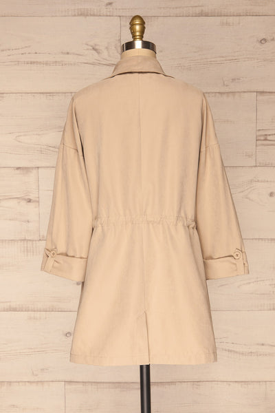 Damery Beige Grey Loose Jacket | La petite garçonne back view