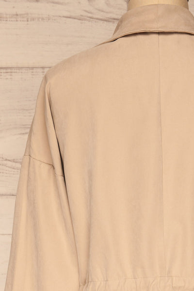Damery Beige Grey Loose Jacket | La petite garçonne back close-up
