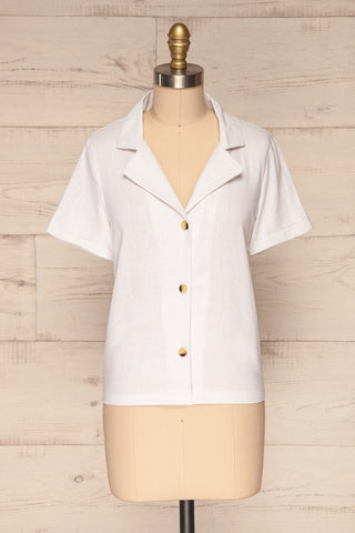 Damsgaard Cloud White Short Sleeved Shirt | La Petite Garçonne 1