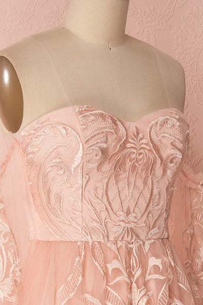Damya Blush Embroidered Net Tulle Bustier Dress | Boutique 1861
