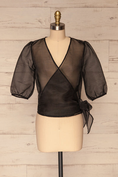 Danilo Black See-Through Top | Haut | La Petite Garçonne front view