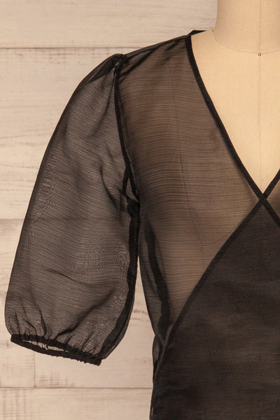 Danilo Black See-Through Top | Haut | La Petite Garçonne front close-up