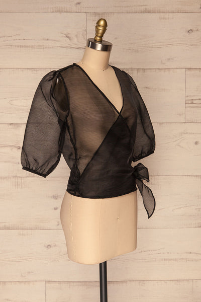 Danilo Black See-Through Top | Haut | La Petite Garçonne side view