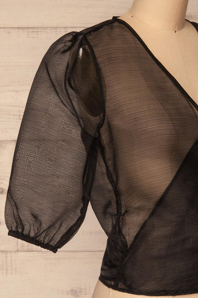 Danilo Black See-Through Top | Haut | La Petite Garçonne side close-up