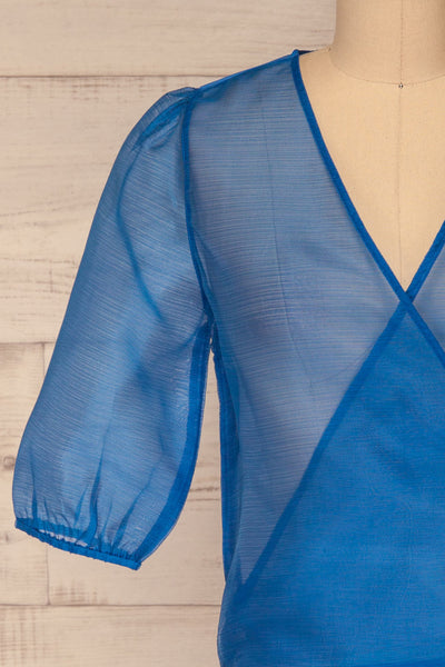 Danilo Blue See-Through Top | Haut | La Petite Garçonne front close-up