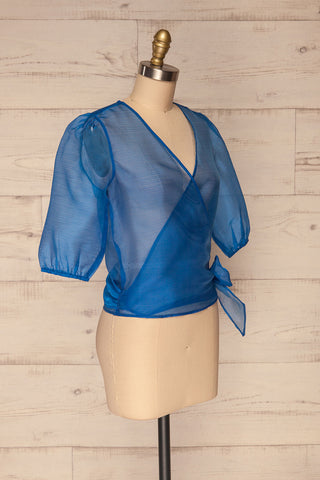 Danilo Blue See-Through Top | Haut | La Petite Garçonne side view