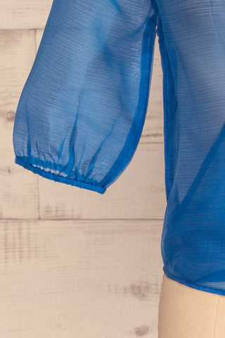 Danilo Blue See-Through Top | Haut | La Petite Garçonne bottom close-up