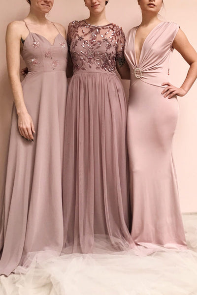 Gurito Mauve A-Line Chiffon Gown w/ Crystals | Boutique 1861 on model