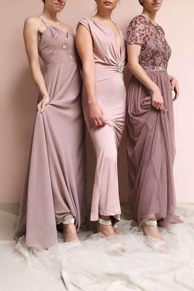 Gurito Mauve A-Line Chiffon Gown w/ Crystals | Boutique 1861 models