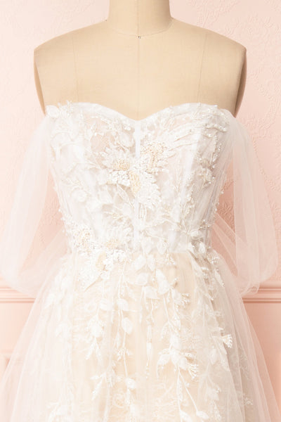 Darana White Embroidered Bustier Bridal Dress | Boudoir 1861 front close-up