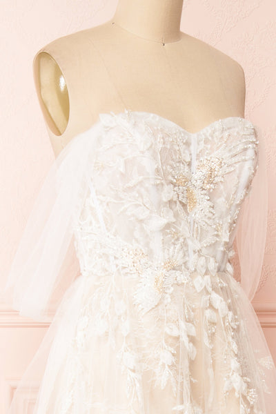 Darana White Embroidered Bustier Bridal Dress | Boudoir 1861 side close-up
