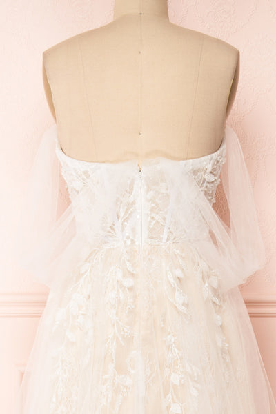 Darana White Embroidered Bustier Bridal Dress | Boudoir 1861 back close-up