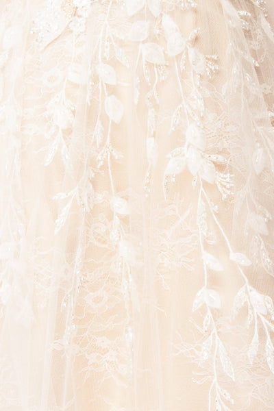 Darana White Embroidered Bustier Bridal Dress | Boudoir 1861 fabric