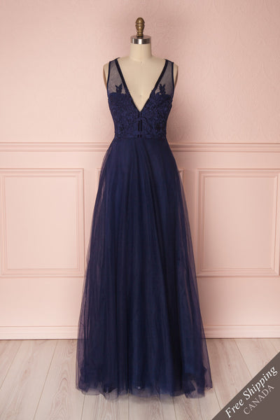 Darli Navy Blue Lace Maxi Dress with Plunging Neckline | Boudoir 1861