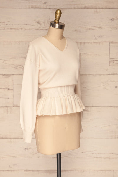 Daryna Beige Puff Sleeved Peplum Knit Top | La Petite Garçonne side view