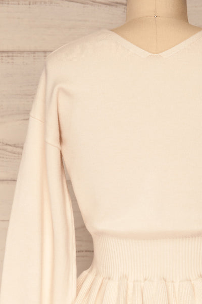 Daryna Beige Puff Sleeved Peplum Knit Top | La Petite Garçonne back close-up