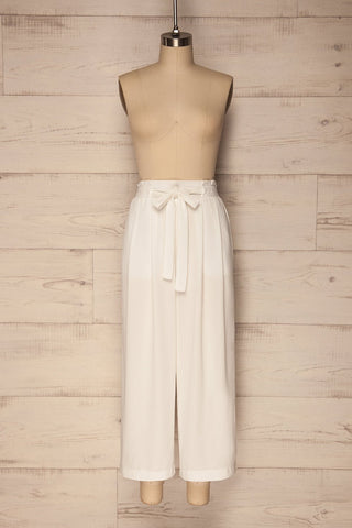 Dath White High Waisted Wide Cropped Trousers | La Petite Garçonne