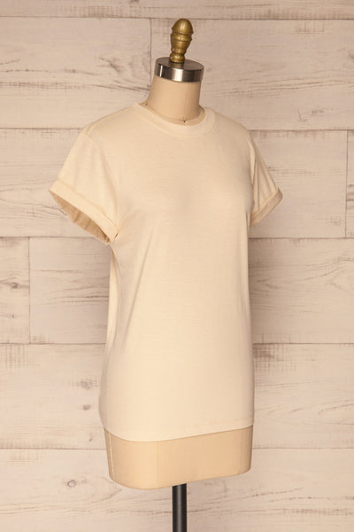Dauve Beige Rolled Sleeves T-Shirt | La petite garçonne side view