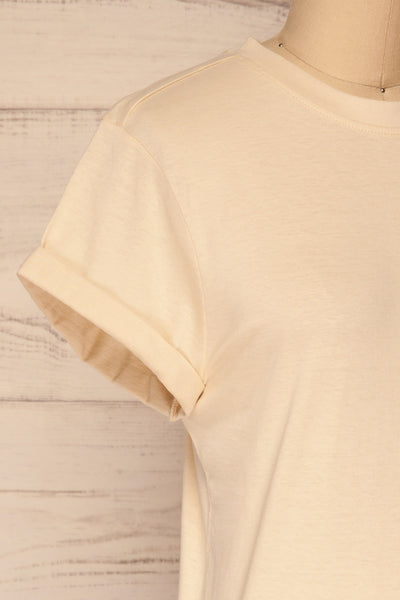 Dauve Beige Rolled Sleeves T-Shirt | La petite garçonne side close-up