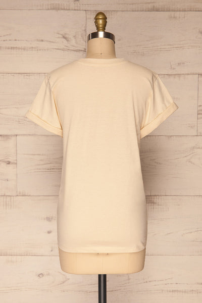 Dauve Beige Rolled Sleeves T-Shirt | La petite garçonne back view