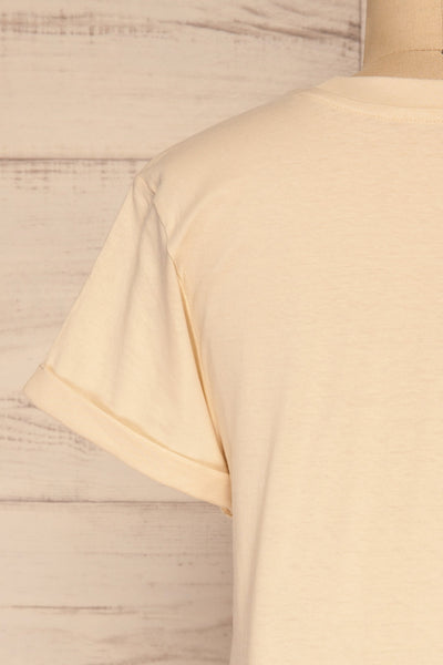 Dauve Beige Rolled Sleeves T-Shirt | La petite garçonne back close-up