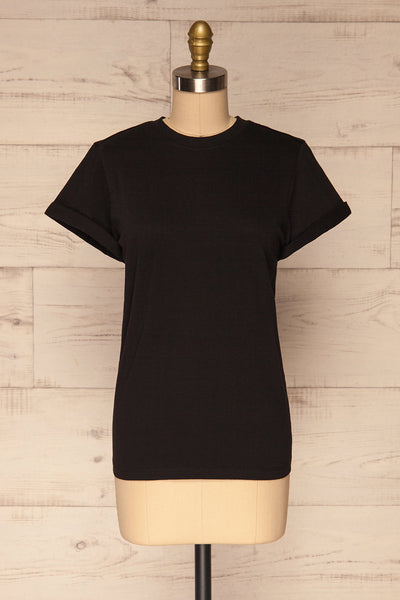 Dauve Black Rolled Sleeves T-Shirt | La petite garçonne front view