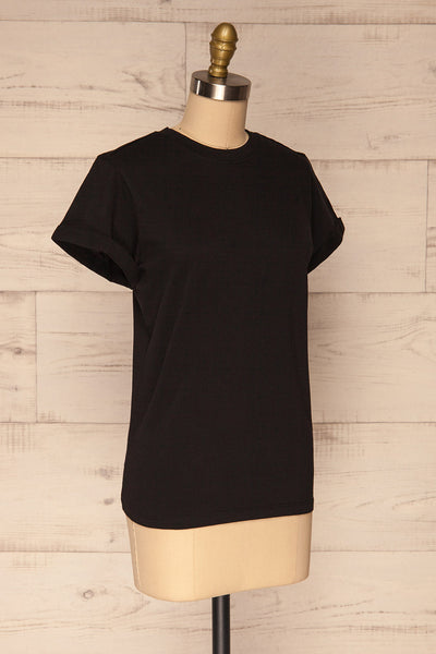 Dauve Black Rolled Sleeves T-Shirt | La petite garçonne side view