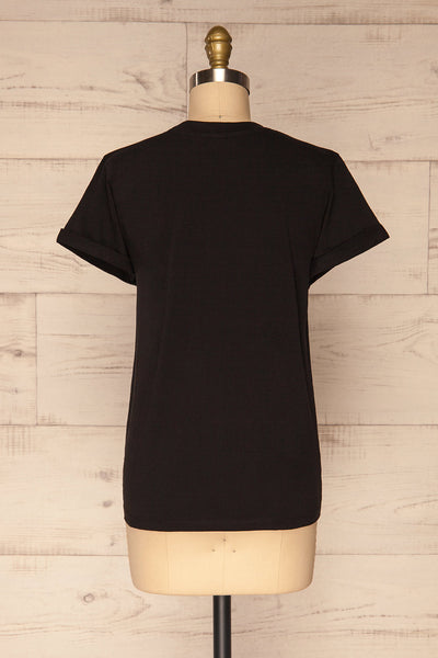 Dauve Black Rolled Sleeves T-Shirt | La petite garçonne back view