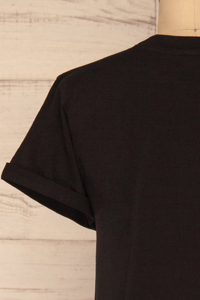 Dauve Black Rolled Sleeves T-Shirt | La petite garçonne back close-up