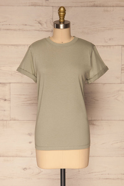 Dauve Seagrass Green Rolled Sleeves T-Shirt | La petite garçonne front view