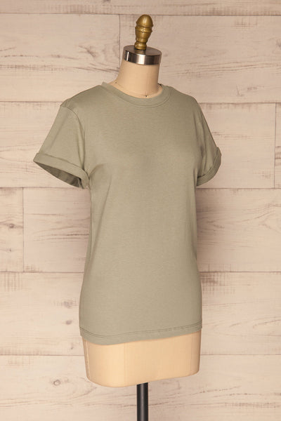 Dauve Seagrass Green Rolled Sleeves T-Shirt | La petite garçonne side view