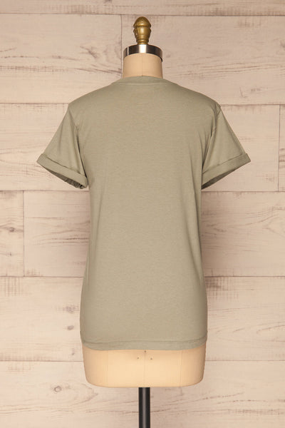 Dauve Seagrass Green Rolled Sleeves T-Shirt | La petite garçonne back view
