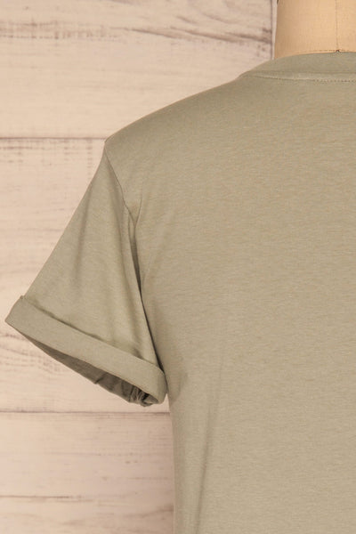 Dauve Seagrass Green Rolled Sleeves T-Shirt | La petite garçonne back close-up