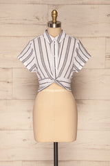 Davanger White & Grey Striped Button-Up Crop Top | La Petite Garçonne