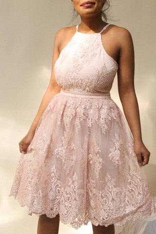 Dayra Pink Tulle Embroidered A-Line Halter Dress | Boutique 1861