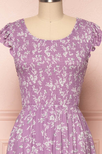 Niihama Lilac Floral Midi A-Line Dress | Boutique 1861