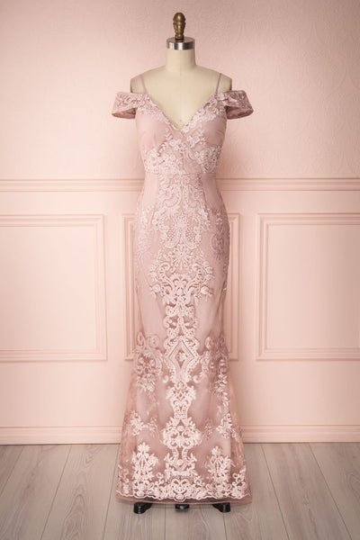 Deise Rosé Lilac Embroidered Mermaid Gown | Boutique 1861