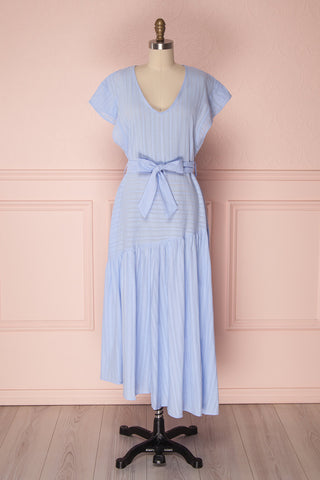 Delbine Light Blue Ruffled Dress with Belt | Boutique 1861