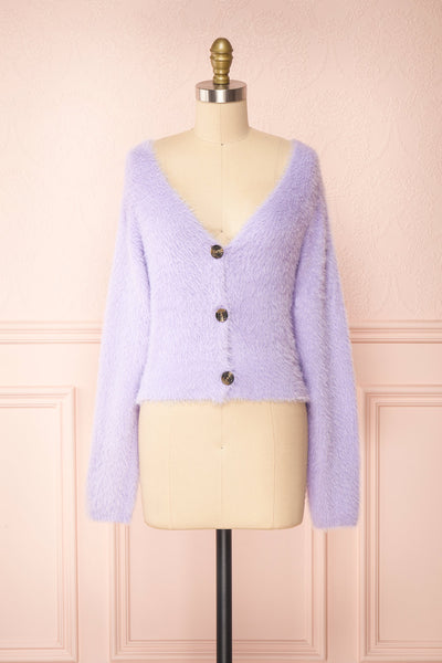 Delcia Lavender Fuzzy Button-Up Cardigan | Boutique 1861 front view