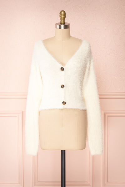 Delcia White Fuzzy Button-Up Cardigan | Boutique 1861 front view