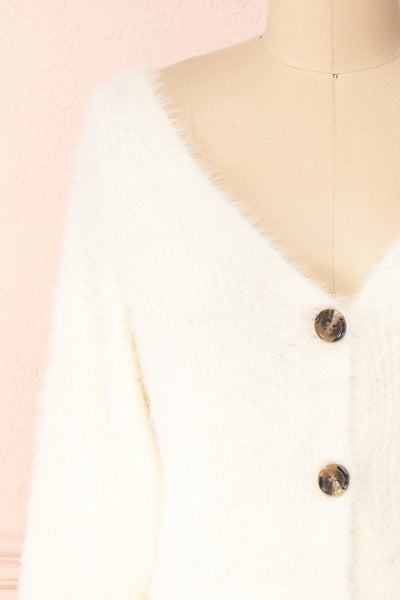 Delcia White Fuzzy Button-Up Cardigan | Boutique 1861 front close-up