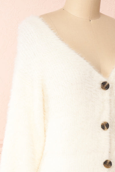 Delcia White Fuzzy Button-Up Cardigan | Boutique 1861 side close-up