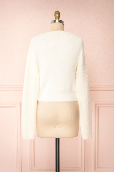 Delcia White Fuzzy Button-Up Cardigan | Boutique 1861 back view