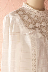 Delfica - White plumetis and lace shift dress
